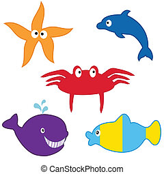 Sea animals collection. Vector format