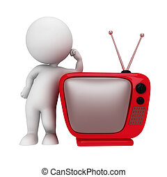 3d white people with TV - 3d rendered illustration of white...