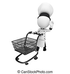 3d white people as chef with trolly