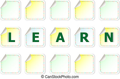 The word learn on a stickers label tag set