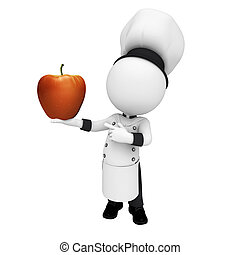 3d white people as chef with apple