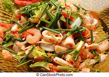 close up of Thai spicy seafood salad