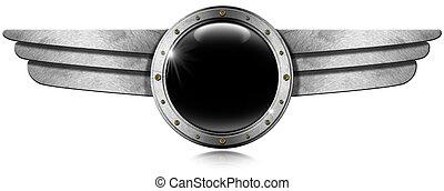 Metallic Porthole with Metal Wings - Dark gray metallic...