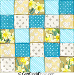 Seamless pattern from scrappy blanket from multi-colored...