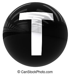 ball with the letter T - 3d black ball with the letter T...