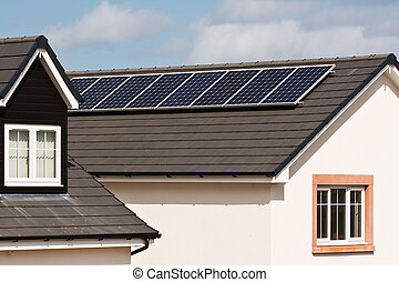 Photovoltaic Solar Panels on tiled roof - Photovoltaic Solar...