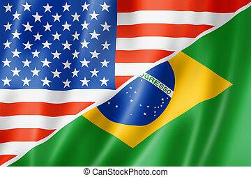USA and Brazil flag - Mixed USA and Brazil flag, three...