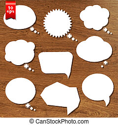 Wooden Background With Speech Bubbles Set