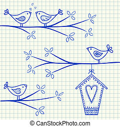 Illustration of birds sitting on a branch with birdhouse