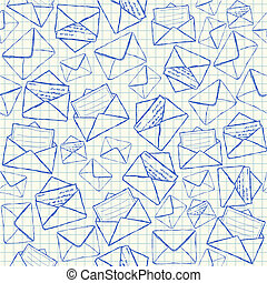 Illustration of envelope doodles on squared school paper, seamless pattern