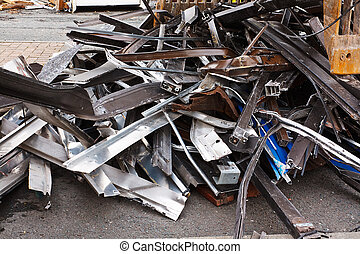 Close up of scrap metal - Scrap metal waste of iron and...