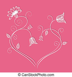 Illustration of doodle flowers in heart shape with swirls