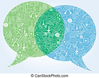 Social media doodles - hand drawn icons in bubble speech...
