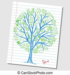Social media doodles - hand drawn icons around tree sketch