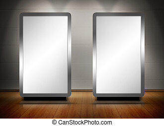 Two blank screens standing on wooden floor with spotlights...