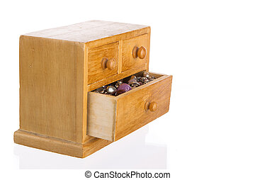 Wooden jewelry box with open drawer - Wooden jewelry box...