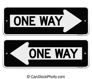 One Way Sign - Classic American Black Roadsign pointing Left...