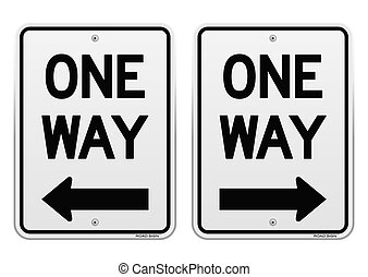 White One Way Signs - Urban street road sign isolated on...