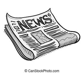 Newspaper Cover Page - Traditional illustration of news as a...