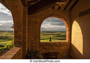 tuscan landscape - great view of landscape in Tuscany,Italy