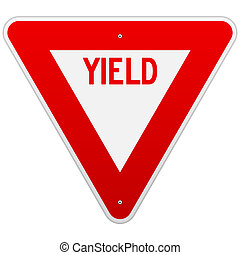 USA Yield Sign - Classic red and white road sign isolated on...