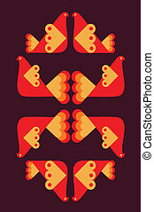 abstract bird pattern in orange colors