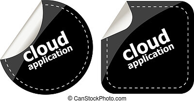 cloud application black stickers label tag set