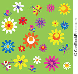 template with flowers and butterflies of spring time