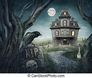 Haunted house and spooky graveyard