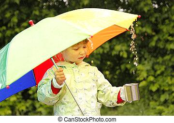 女の子, 傘, 雨