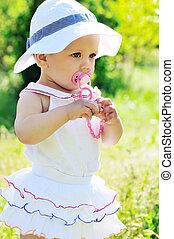 bambino, estate, moda