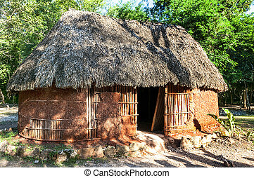 traditional mayan home - mayan home Chichen Itza in the...