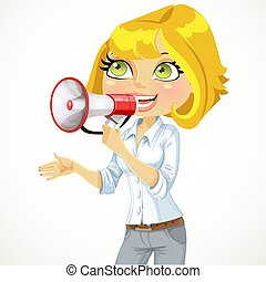 Cute girl speaks in a megaphone isolated on white background...