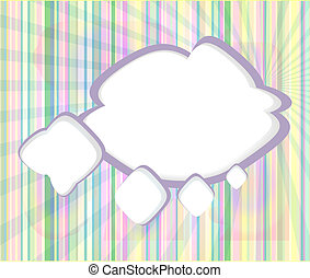 Abstract speech bubbles in the shape of clouds used in a social networks on light blue background. Cloud computing concept