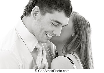 couple in love - monochrome picture of couple in love over...