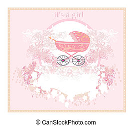Baby arrival card for girl