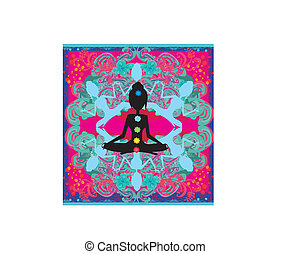 Yoga lotus pose Padmasana with colored chakra points