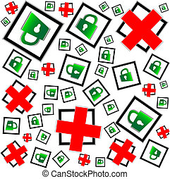red and green padlocks seamless pattern - security concept