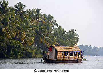 KOCHI - DECEMBER 2012: Houseboat , sightseeing boat at...