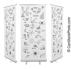 Blank roll up banner display with drawing graph isolated on...