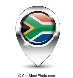 South Africa map pin - South African flag on glossy map pin,...
