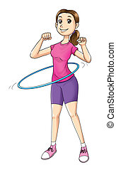 Hula Hoop - Cartoon illustration of a woman exercising with...