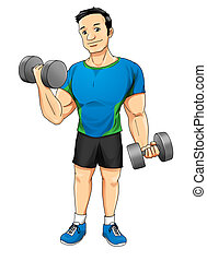 Fitness - Cartoon illustration of a man exercising with...