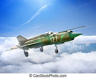 Jet plane - MiG-21  Soviet multipurpose jet plane in flight