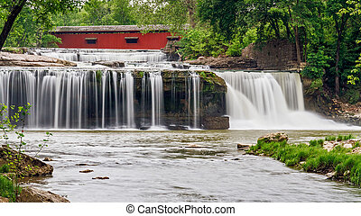 Upper Cataract Falls, Bridge, and Mill Ruins - A red covered...