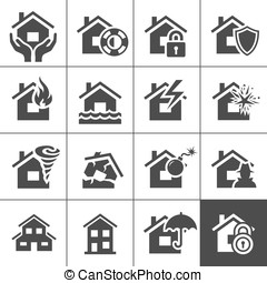 Property insurance icons - Property insurance icon set...