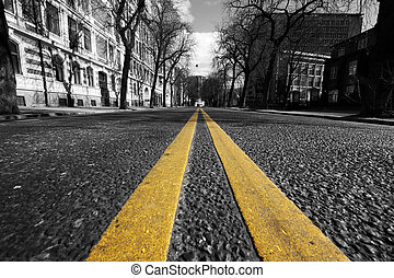 double yellow lines in city street