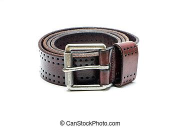 cuero, marrón, viejo, cinturón