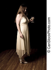 Underage activities - Teenage girl in yellow evening dress...