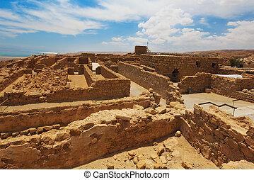fortress Masada, Israel  - Ruins of fortress Masada, Israel